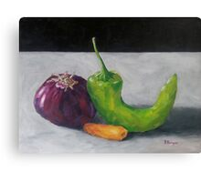 Red Onion, Carrot, and Chili Pepper Canvas Print