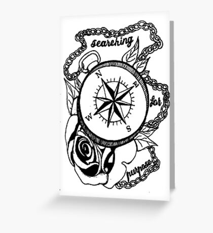 Searching For Purpose Compass Rose Design Greeting Card