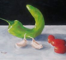 Chili Pepper, Garlic, and Tomatoes by Pamela Burger