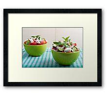 Two green bowl with vegetable vegetarian salad Framed Print