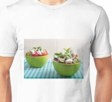 Two green bowl with vegetable vegetarian salad Unisex T-Shirt