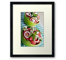 Two portions of useful vegetarian meal closeup Framed Print