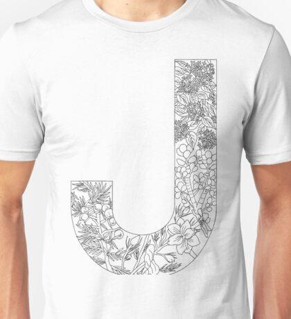 Botanical Alphabet Letter J Unisex T-Shirt