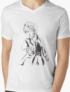 Mr Clever - Black and White Mens V-Neck T-Shirt