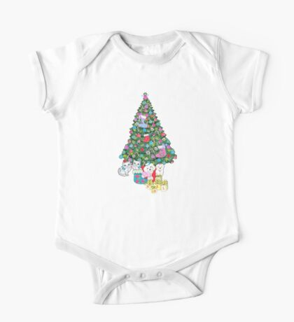 Cats and Dogs Christmas Tree One Piece - Short Sleeve