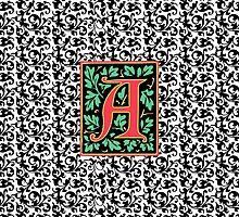 Elegant Renaissance Letter A Monogram by AntiqueImages