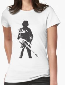 the rock legend with guitar on back Womens Fitted T-Shirt