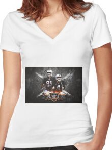 AC and DC back to back Women's Fitted V-Neck T-Shirt