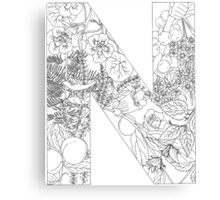 Botanical Alphabet Letter N Canvas Print