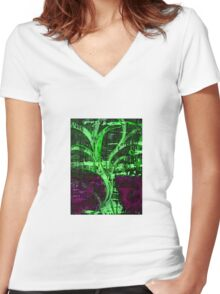 Green Winter Tree Women's Fitted V-Neck T-Shirt
