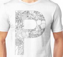 Botanical Alphabet Letter P Unisex T-Shirt