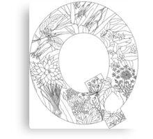 Botanical Alphabet Letter Q Canvas Print