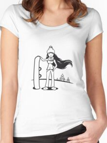 Winter Urlaub ski frau snowboard  Women's Fitted Scoop T-Shirt