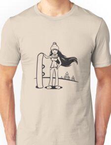 Winter Urlaub ski frau snowboard  Unisex T-Shirt