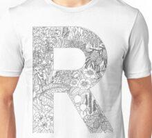 Botanical Alphabet Letter R Unisex T-Shirt