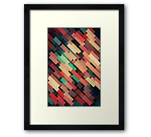 Abstraction #004 Red Green Yellow Geometric Blocks Framed Print