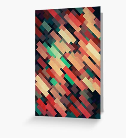 Abstraction #004 Red Green Yellow Geometric Blocks Greeting Card