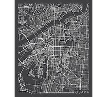 Osaka Map, Japan - Gray Photographic Print