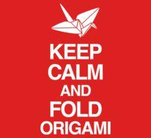 Keep Calm And Fold Origami - Pink Kids Tee