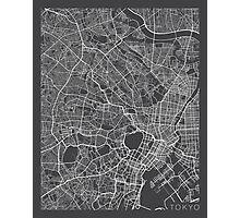 Tokyo Map, Japan - Gray Photographic Print