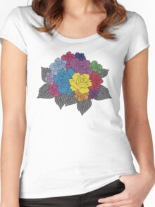 Colourful Bunch of Roses Women's Fitted Scoop T-Shirt