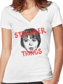 Jonathan Byers Stranger Things Fan Art Women's Fitted V-Neck T-Shirt
