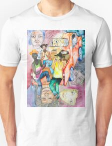 After the work, young people on a pick up Unisex T-Shirt