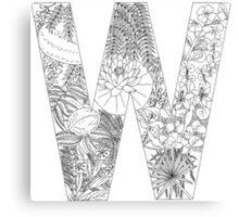 Botanical Alphabet Letter W Canvas Print