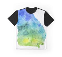 Watercolor Map of Georgia, USA in Blue and Green - Giclee Print of My Own Watercolor Painting Graphic T-Shirt