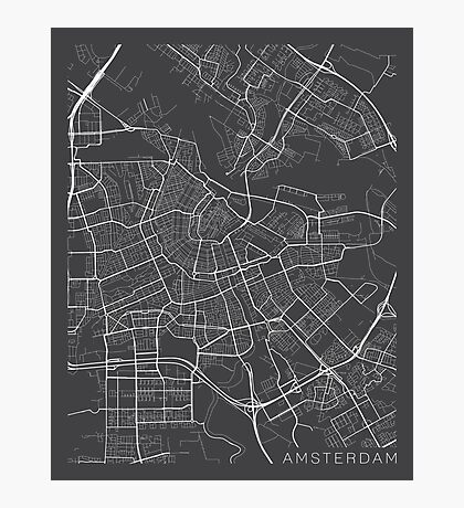Amsterdam Map, Netherlands - Gray Photographic Print