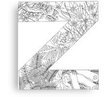 Botanical Alphabet Letter Z Canvas Print