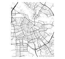 Amsterdam Map, Netherlands - Black and White Photographic Print