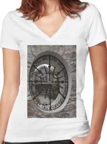Elliptic View - Beautiful Home Through a Fence Window Women's Fitted V-Neck T-Shirt