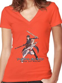 asuna and kirito blade to blade Women's Fitted V-Neck T-Shirt