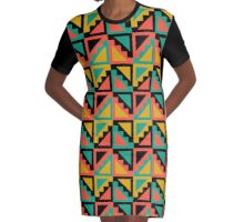 Primitive Mexican Steps Pattern Graphic T-Shirt Dress