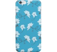 White Flowers on Blue Background, Floral iPhone Case/Skin