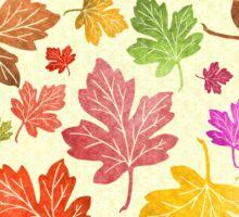 Autumn Leaf Pattern Colorful Fall Foliage on Cream Sticker