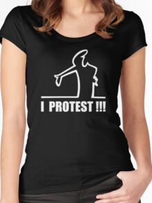 Cool Funny Cartoon I Protest Women's Fitted Scoop T-Shirt