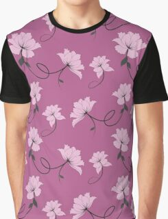Pink Flowers on a lavendar/mauve background, floral pattern Graphic T-Shirt