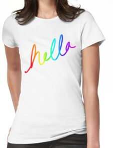 HELLA Rainbow Pride Calligraphy Womens Fitted T-Shirt