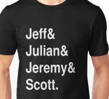 Jeff&Julian&Jeremy&Scott on black Unisex T-Shirt