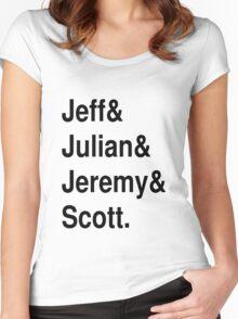 Jeff&Julian&Jeremy&Scott on white Women's Fitted Scoop T-Shirt