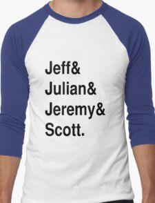 Jeff&Julian&Jeremy&Scott on white Men's Baseball ¾ T-Shirt