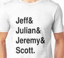 Jeff&Julian&Jeremy&Scott on white Unisex T-Shirt