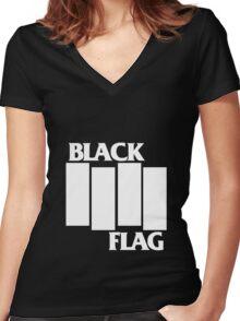 Black Flag Band Women's Fitted V-Neck T-Shirt