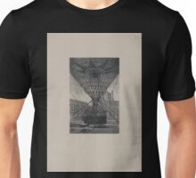 0216 ballooning Lower part of a large captive balloon moored to a launching platform showing network of ropes and balloon basket with about 10 occupants E A Tilly Unisex T-Shirt