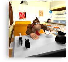 Donkey Kong at breakfast Canvas Print