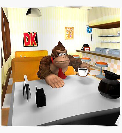 Donkey Kong at breakfast Poster