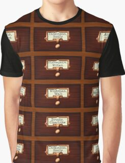Retro Library Card Catalog Drawers with Author Names Graphic T-Shirt