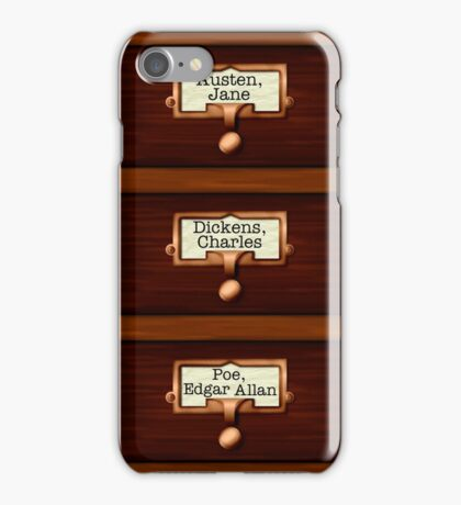 Retro Library Card Catalog Drawers with Author Names iPhone Case/Skin